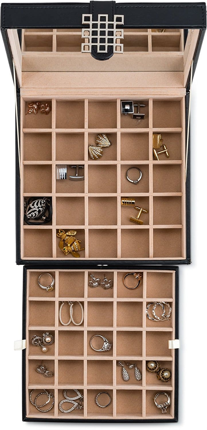 Glenor Co Classic 50 Slot Jewelry Box Earrings Organizer With