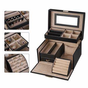 SONGMICS Jewelry Box, Girls Jewelry Organizer and Storage, Lockable Black UJBC114