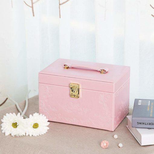 SONGMICS Girls Jewelry Box Lockable Embossed Storage Case Rose Organizer Mirrored Jewelry Holder, Gift for Mom, Pink UJBC116