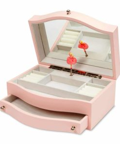 JewelKeeper Girls Wooden Music Jewelry Box with Pullout Drawer, Classic Design with Ballerina and Mirror, Somewhere Over The Rainbow Tune, Rose Pink