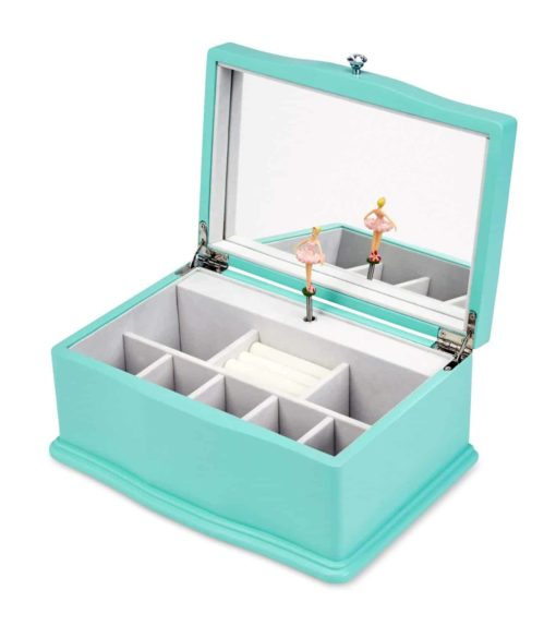 JewelKeeper Girls Wooden Musical Jewelry Box, Classic Design with Ballerina and Mirror, Swan Lake Tune, Blue