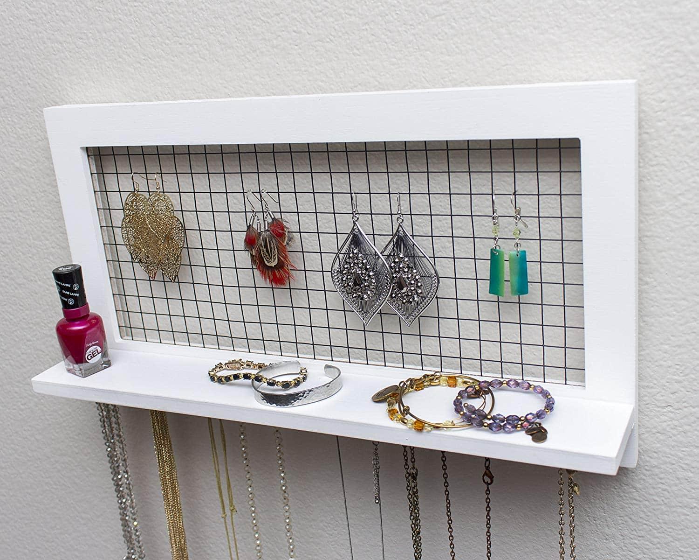 Wall Mount Jewelry Holder Organizer Rustic Style Wood Frame |Wooden Wall Jewelry Organizer