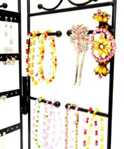 Mango Steam 3-Panel Organizer for Hanging Earrings, Bracelets, & Necklaces, Black