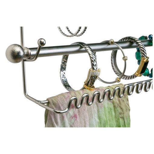 """Satin 14.5"""" Wall Mount Jewelry & Accessory Storage Rack Organizer Shelf for Earrings, Bracelets, Necklaces, & Hair Accessories"""