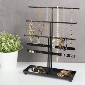 DII Z01647 Tree Tower, 3 Tier Metal with Modern Look and Jewelry Organization, Black