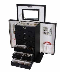 SONGMICS Black Jewelry Box Large Cabinet Faux Leather Storage Case Organizer Lock Mirror UJBC06B
