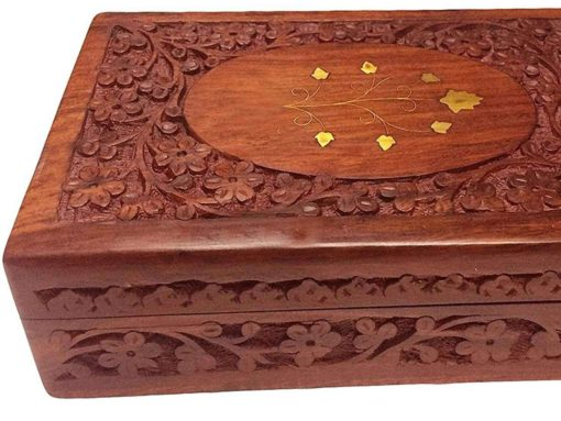IndiaBigShop Wooden Handmade Attractive Flower Carving and Centre Brass Inlay Work With Velvet Interior Decorative Trinket Jewelry Box Organiser 10 Inch