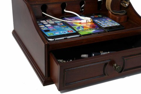 Wooden Multi Device Charging Station and Cord Organizer for Smartphones and Apple watch