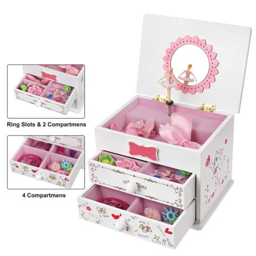 SONGMICS Ballerina Music Jewelry Box Wooden Storage Case for Little Girls, Cartoon Cat, Fur Elise Melody, White UJMC22WT