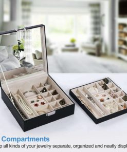 Bewishome Jewelry Box Organizer 40 Section Display Tray Storage Case Drawer 2 Layers Large Mirror S Women Holder For Earring Ring Necklace