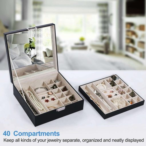 BEWISHOME Jewelry Box Organizer 40 Section Display Tray Storage Case Drawer 2 Layers Large Mirror Girls Teens Women Holder for Earring Ring Necklace Bracelet PU Leather Black SSH01B