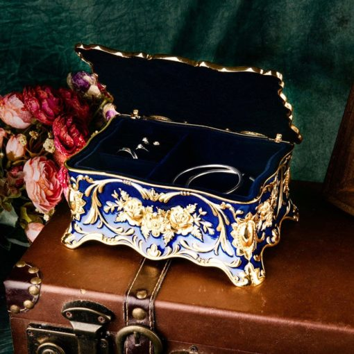 Feyarl Vintage Rectangle Trinket Box Jewelry Box Ornate Antique Finish Engraved with Two- Layer Organizer Box for Exquisite Gift (Blue)