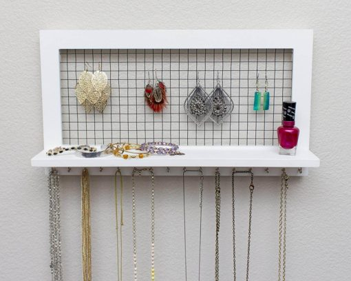 SoCal Buttercup White Jewelry Organizer from Wooden Wall Mounted Holder for Earrings/Necklaces / Bracelets/Accessories (White)