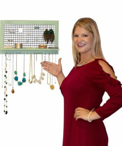 Shabby Chic Wooden Wall Mount Jewelry Organizer - Top Hanging Jewelry Holder for Earrings/Necklaces / Bracelets and Accessories | Handmade Wood Construction w/Hooks & Mounting Screws Included