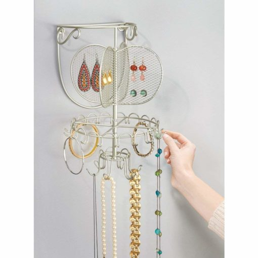 InterDesign Classico Spinning Fashion Jewelry Organizer for Rings, Earrings, Bracelets, Necklaces - Wall Mount, Satin