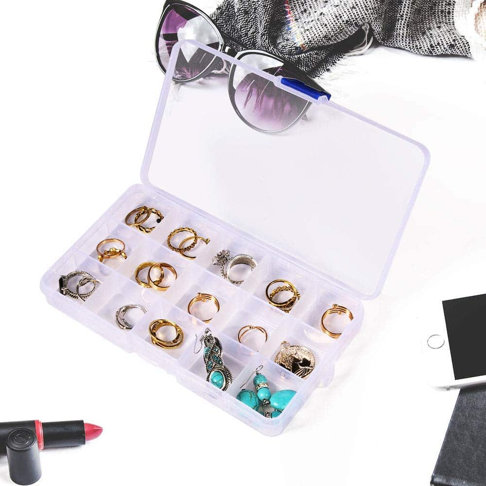Opret 8 Pack 15 Grids Transparent Plastic Bead Organizers Plastic Jewelry Organizers with Movable Dividers Earring Storage Containers Small Craft Storage