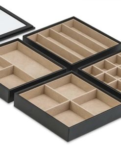 Glenor Co Jewelry Organizer Tray - 4 Stackable Trays & Lid Mirror - 27 Slot Storage Drawer, Dresser - Black
