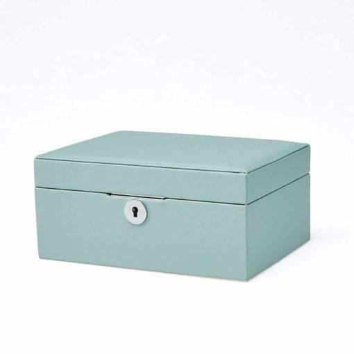 Vlando Pandora Jewelry Box, Jewelry Organizer and Storage with Mirror and Tray -Blue