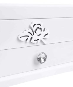 SONGMICS Girls Jewelry Box Wooden Flower Carving Organizer Storage Case 2 Tier with Drawer DIY,, White and Pink UJOW201