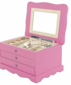 SONGMICS Girls Jewelry Box Pink Wooden Case Organizer Mirror UJOW03P