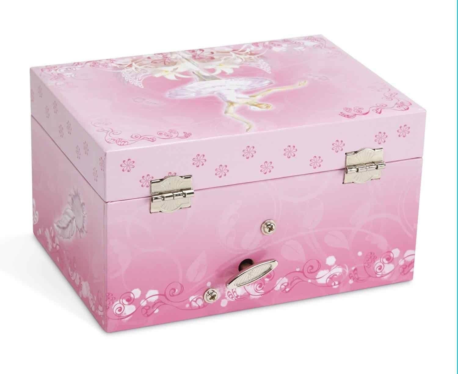 JewelKeeper Girls Musical Jewellery Storage Box with Twirling Fairy Blue and White Star Design Swan Lake Tune