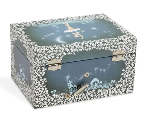 JewelKeeper Girl's Musical Jewelry Storage Box with Twirling Fairy Blue and White Star Design, Swan Lake Tune