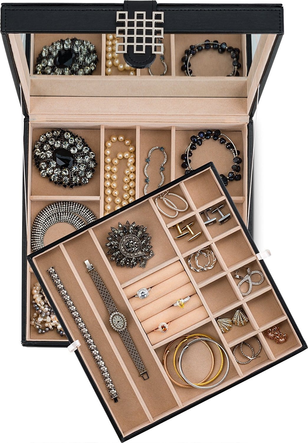 e31ff9b78 Glenor Co 28 Section Jewelry Box - 2 Layer - Buckle Snap & Magnet Closure -