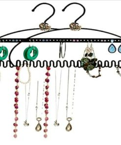 2 Pack - Hang It Jewelry Organizer - Stores Earrings, Bracelets, Rings and Necklaces | Perfect Solution to Messy & Tangled Jewelry Boxes | Extremely Durable - 3MM Steel | Black