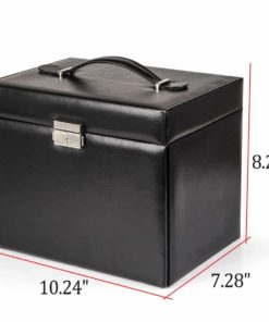 Black Leather Jewelry Box Travel Case and Lock 3