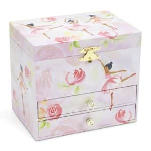 JewelKeeper Ballerina and Roses Girl's Musical Jewelry Box, 2 Pullout Drawers, Swan Lake Tune