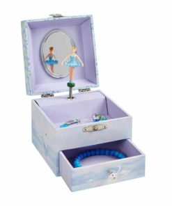 JewelKeeper Musical Ballerina Jewelry Box, Stars and Swans Design with Pullout Drawer, Swan Lake Tune