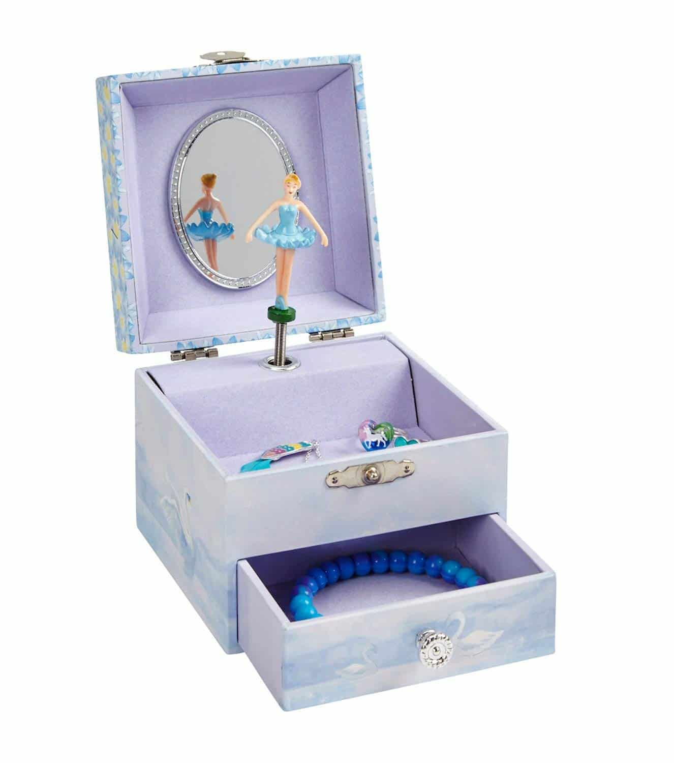 Jewelkeeper Musical Ballerina Jewelry Box Stars And Swans Design With Pullout Drawer Swan Lake Tune
