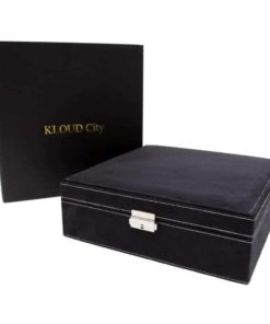 KLOUD City Two-Layer lint Jewelry Box Organizer Display Storage case with Lock (Black)