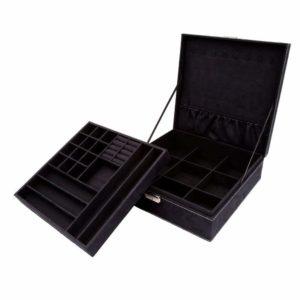 KLOUD City Two-Layer lint Jewelry Box Organizer Display Storage case with Lock (Black)