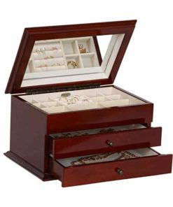 Mele & Co.. Brayden Wooden Jewelry Box with Floral Marquetry Motif (Walnut Finish)