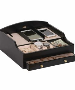 Mele & Co.. Ricardo Wooden Charging Station (1 Drawer, Java Finish)