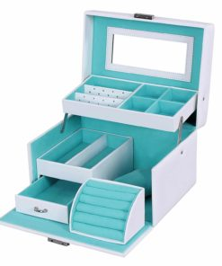 SONGMICS Girls Jewelry Box Lockable Jewelry Organizer Mirrored Storage Case White UJBC114W