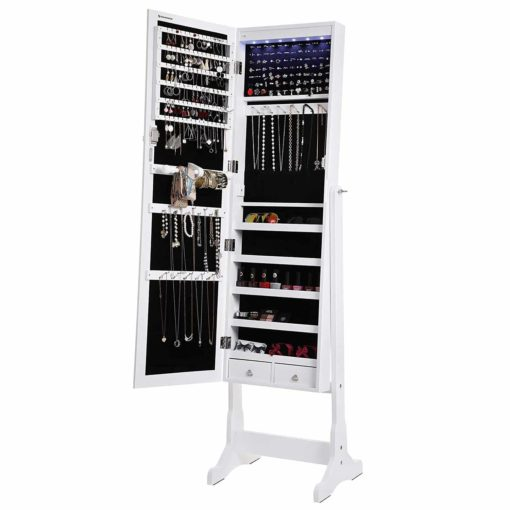 SONGMICS LED Jewelry Cabinet Lockable Standing Jewelry Armoire Organizer with Mirror 2 Drawers White