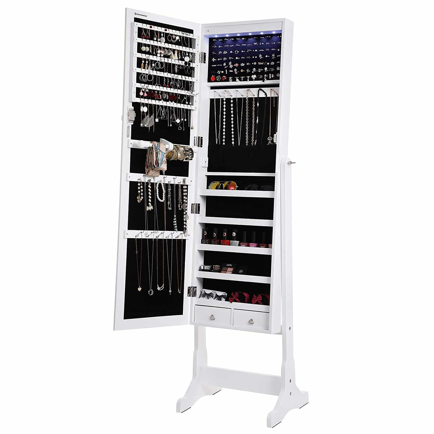 SONGMICS LED Jewelry Cabinet Lockable Standing Jewelry ...