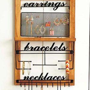 Wooden Bohemian Design Jewelry Hooks Storage Hanging Organizer (Deluxe)