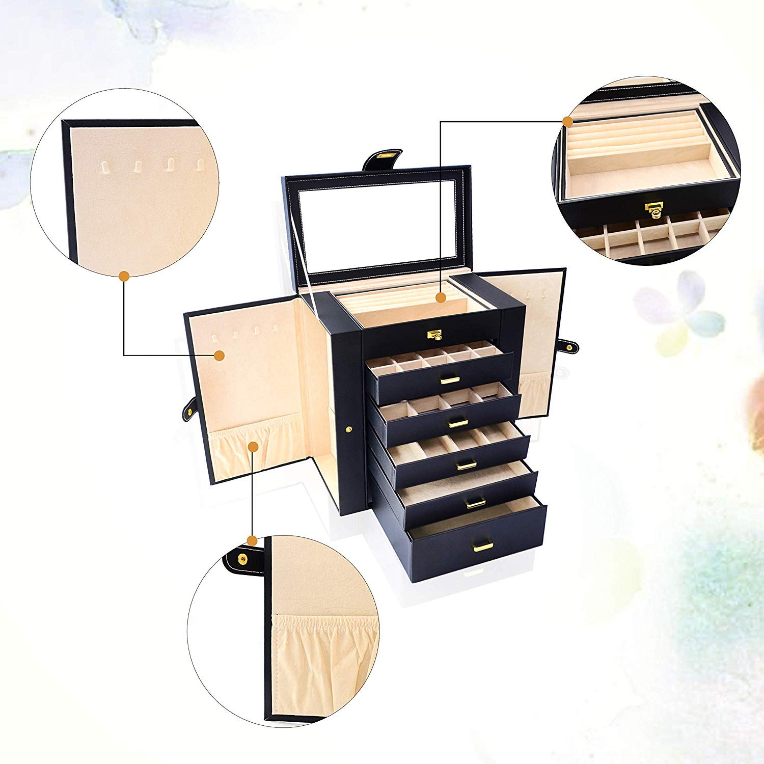 Lockable Leather Jewelry Storage Case For Women
