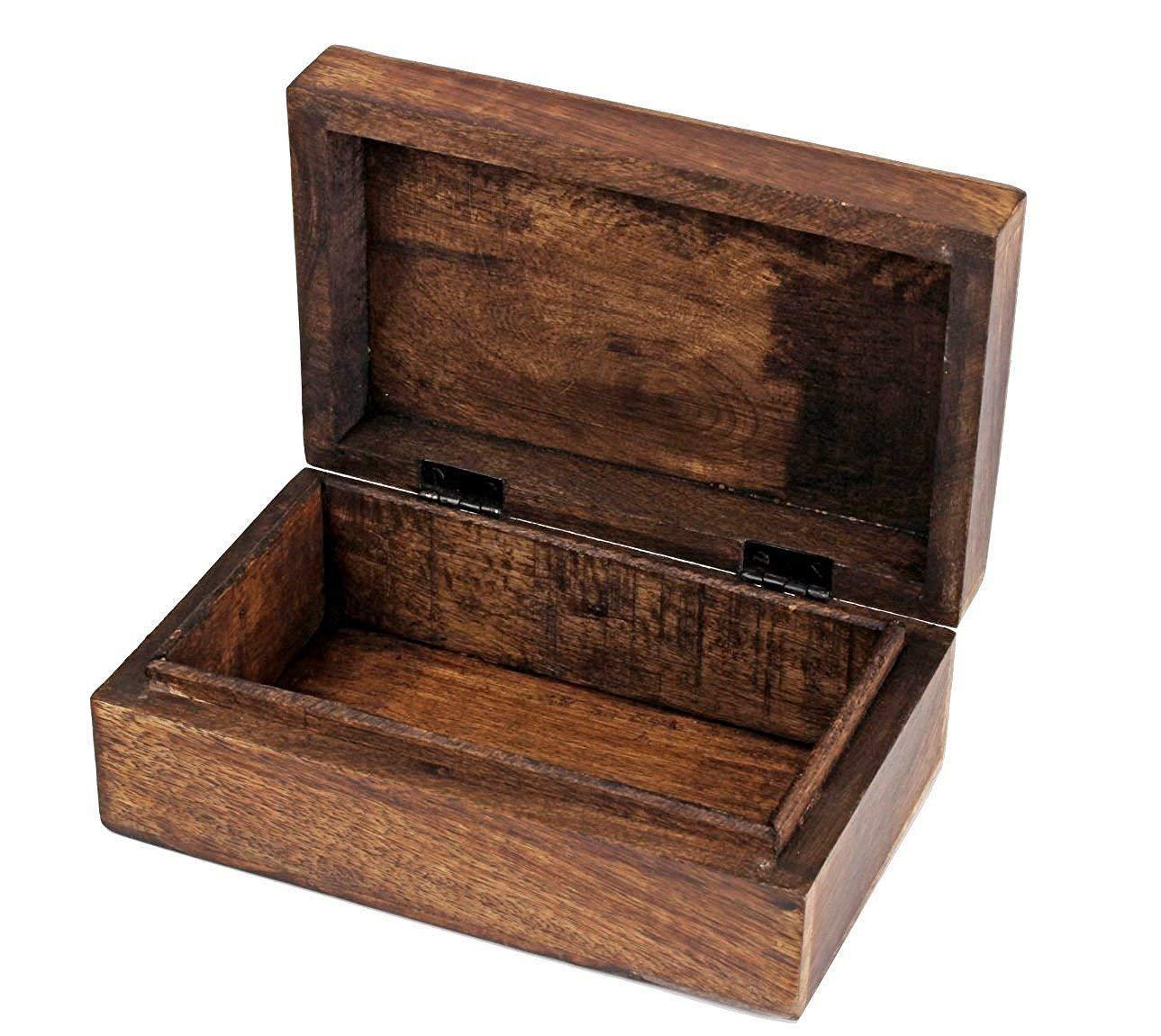 brown ethnic wooden trinket organizer jewelry storage box