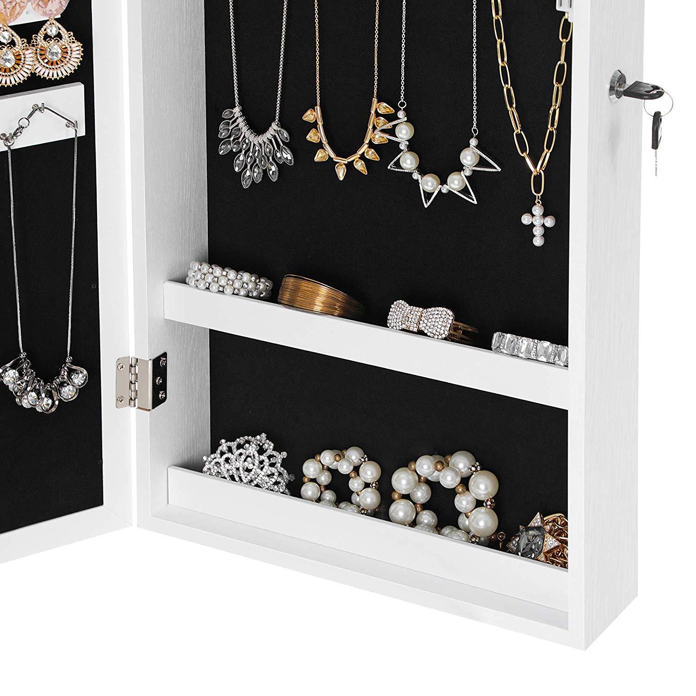 Lockable Jewelry Cabinet Armoire With Mirror Jewelry Storage Organizer