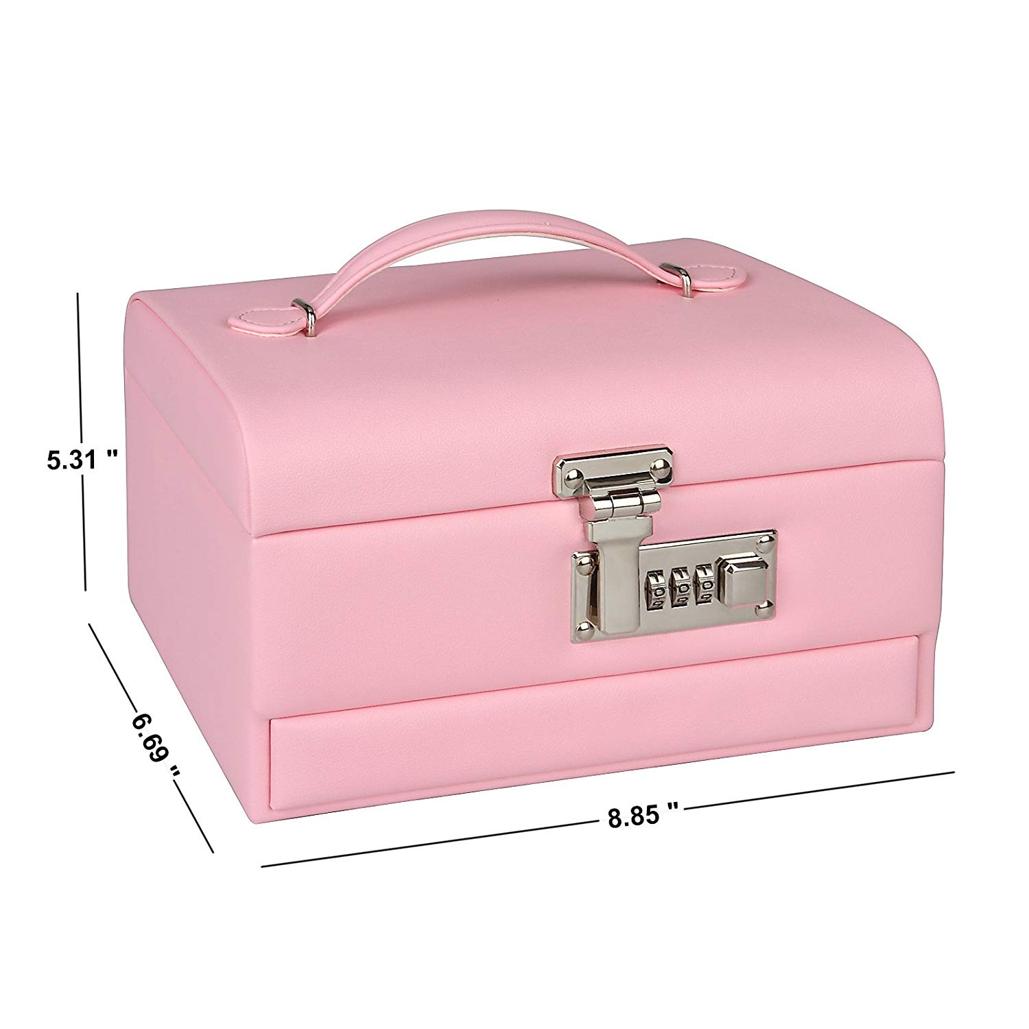 Leather Jewelry Storage And Organizer Box For Girls With Lock