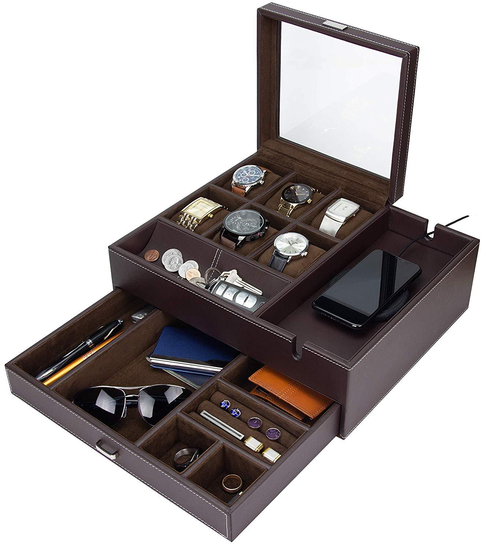 Houndsbay Commander Dresser Valet Watch Box Case Mens Jewelry Box Organizer With Smartphone Charging Station Brown Brown