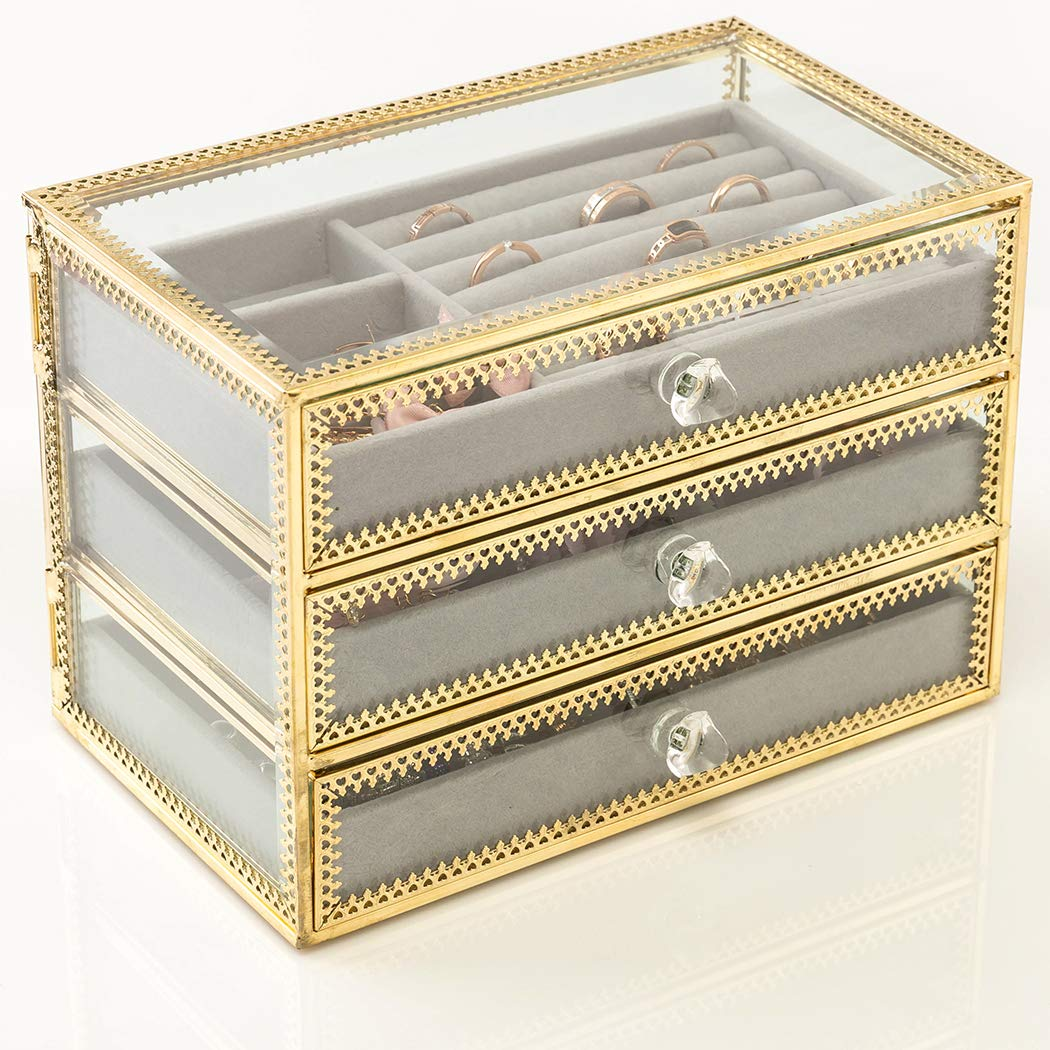 Jewelry Organizer And Jewelry Storage Boxes With 3 Drawers
