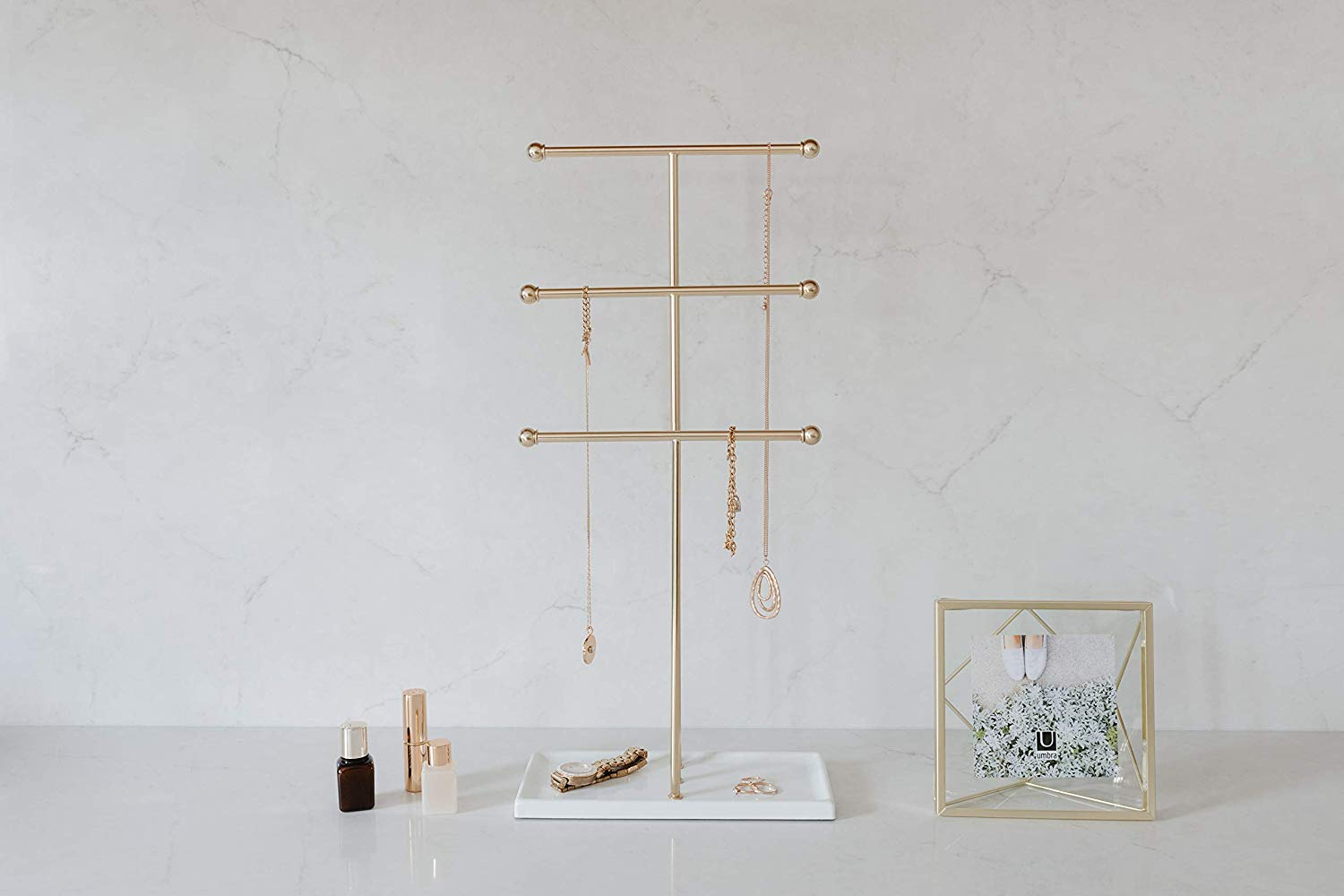 3 Tier Table Top Necklace Holder Hanging Jewelry Organizer