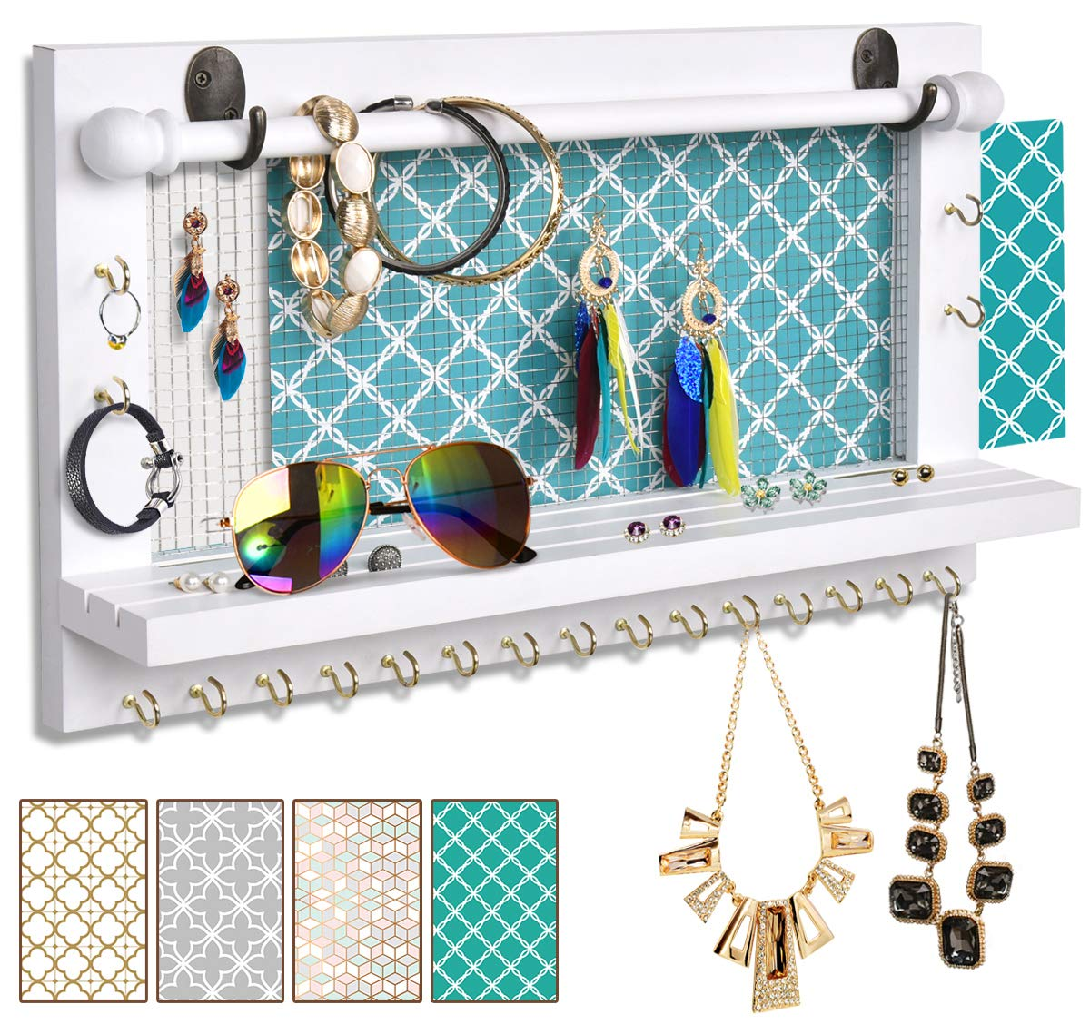 Wall-Mounted Mesh Jewelry Organizer with hanging hooks for ...